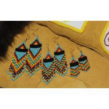 Turquoise Rainbow Beaded Earrings