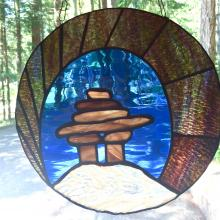 Innukshuk Northern Lights Stained Glass