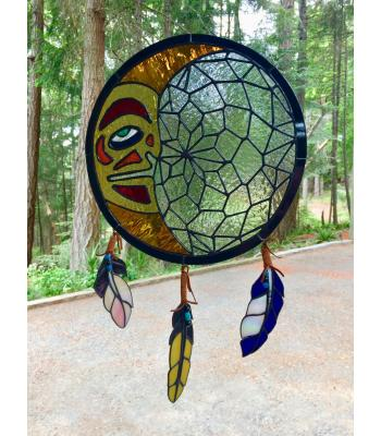 Northern-Influenced Half Moon Dream Catcher Stained Glass