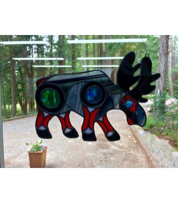 Northern Inspired Moose Stained Glass