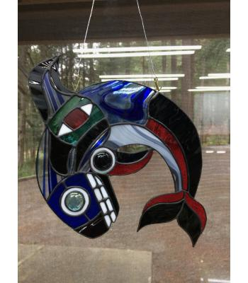 Northern-Influenced Orca/Eagle Stained Glass