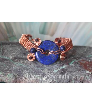 Lapis Pi stone, lapis bead and garnet beads woven in a fun copper cuff
