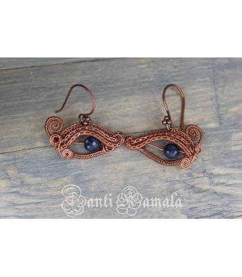 Sapphire eye earrings