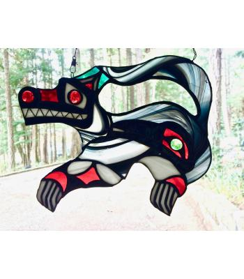 Northern-Influenced Wolf/Crow Stained Glass