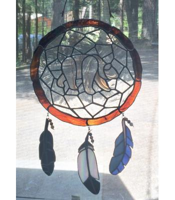 Dream Catcher with Spirit Bear Stained Glass