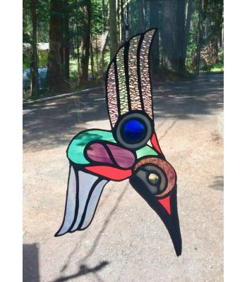 Northern-Influenced Hummingbird Stained Glass